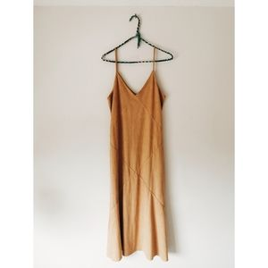 Tan Vegan Suede Ellison Midi Dress